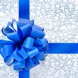 Blue bow from ribbon — Stock Photo