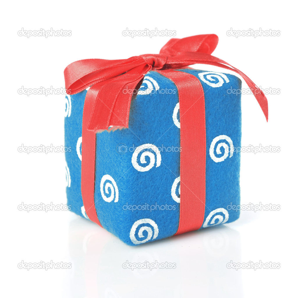 Blue gift with red ribbon isolated on white — Stock Photo #3172475
