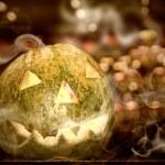 Halloween pumpkin with smoke — Stock Photo