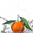 Tangerine with green leaves and water splash — Stock Photo #3378990