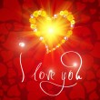 I love you. Card for Valentines day with small heart from flowers -  