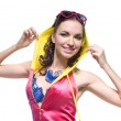 Beautiful young woman posing in color wear — Stock Photo #3379076