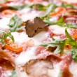Italian pizza with truffels and tomatoes — Stock Photo