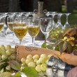 Wine on table with grape — Stock Photo