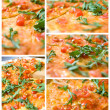 Set from 5 full size photos of classic italian pizza — Stock Photo