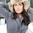 Winter portrait of young woman in fur hat — Stock Photo #3379653