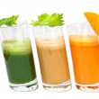 Fresh juices from carrot, celery and parsley in glasses — Stock Photo