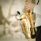 Playing on sax — Stock Photo