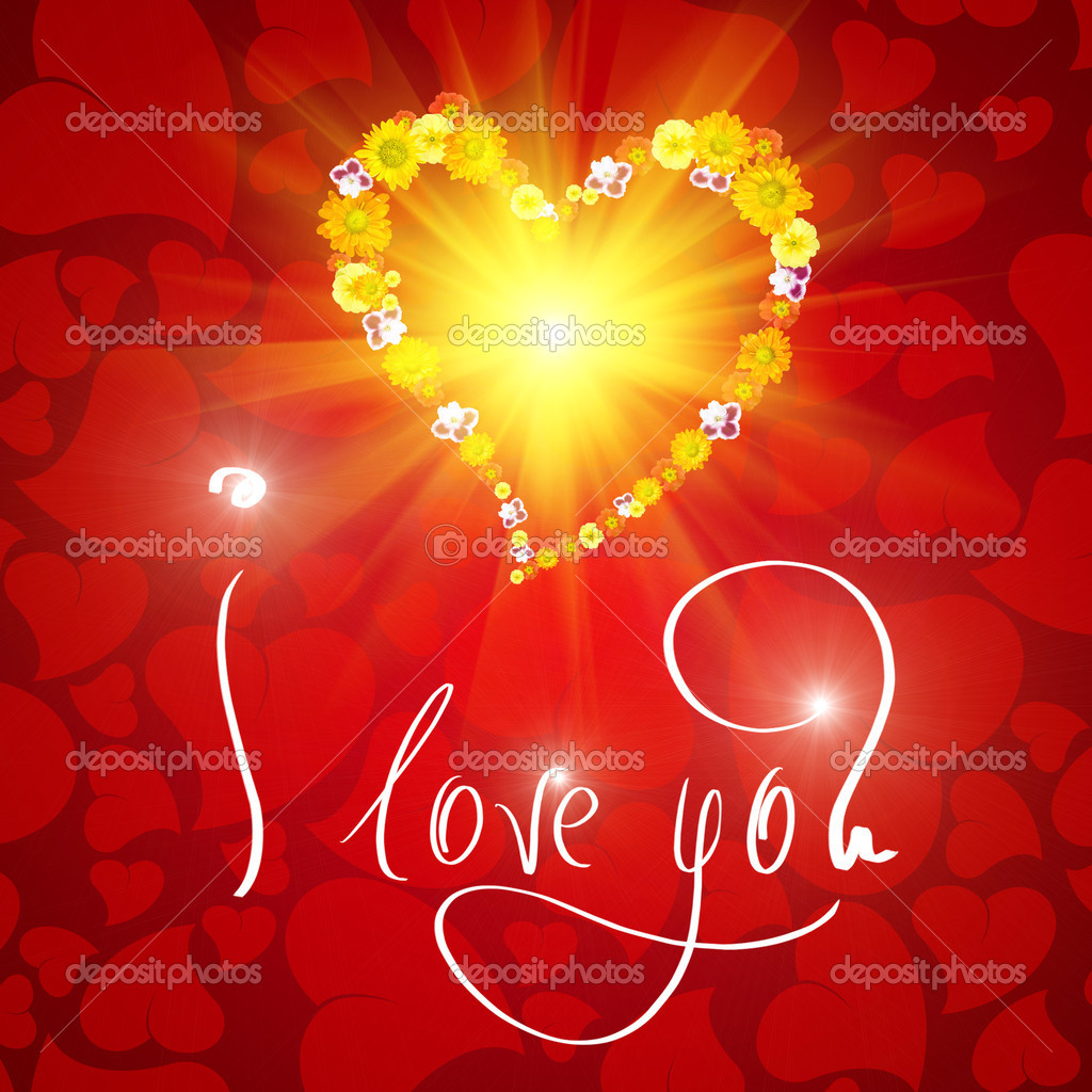 I love you. Card for Valentines day with small heart from flowers — Foto de Stock   #3378991