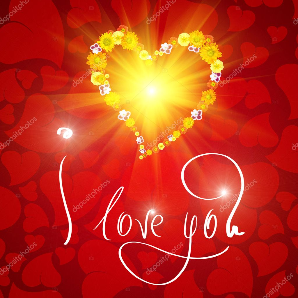 I love you. Card for Valentines day with small heart from flowers — Foto Stock #3378991