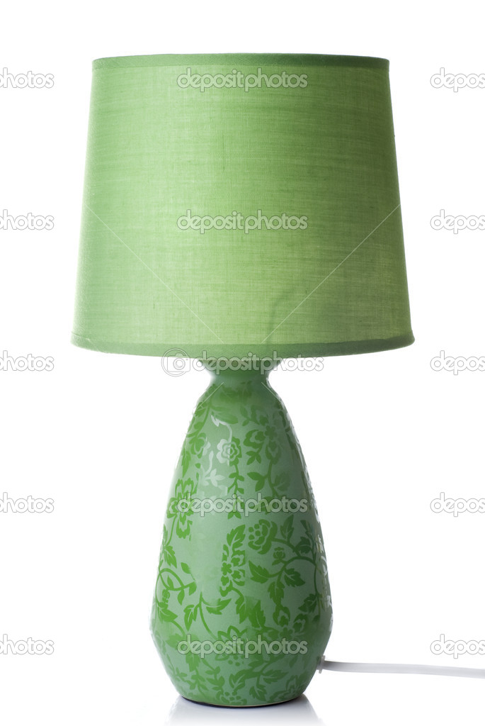 Green desk lamp isolated on white — Stock Photo #3379362