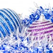 Pink and blue christmas balls with decoration — Foto de Stock