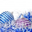 Pink and blue christmas balls with decoration — Stock Photo #3380115