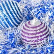 Pink and blue christmas balls with decoration - Stock fotografie