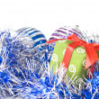 Christmas balls with decoration — Stock Photo