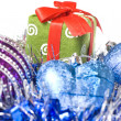 Christmas balls with and gift with decoration — Stok fotoğraf