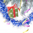 Christmas gift and decoration on fir tree branch — 图库照片