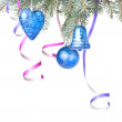Christmas balls, gift and decoration on fir tree branch  — Stock fotografie