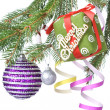 Christmas balls, gift and decoration on fir tree branch  — Stockfoto