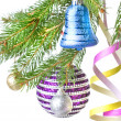Christmas balls, gift and decoration on fir tree branch  — Foto de Stock