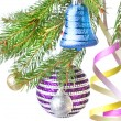 Christmas balls, gift and decoration on fir tree branch  — Stok fotoğraf