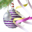 Christmas balls, gift and decoration on fir tree branch  — Zdjęcie stockowe