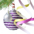 Christmas balls, gift and decoration on fir tree branch — Stock Photo #3381249