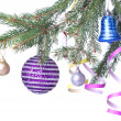 Christmas balls and decoration on fir tree branch — Stock Photo