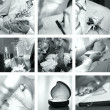 Black and white wedding photos set — Stok fotoğraf