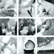 Black and white wedding photos set — Stock Photo