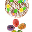 Top view of easter eggs and cake — Foto de Stock