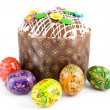 Easter eggs and cake — Stock Photo