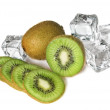 Kiwi with ice cubes — Stock Photo