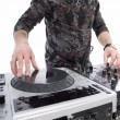 Dj playing on dj mixer with  — Stock Photo