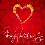 karte zum valentinstag mit begrüßung und herz aus blumen — Stockfoto