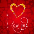 I love you. Card for Valentines day with small heart from flowers — Stockfoto