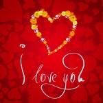 ich liebe dich. karte zum valentinstag mit kleinen herzen aus blumen — Stockfoto