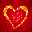 I love you. Card for Valentines day with heart from flowers — 图库照片