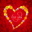 Stock Photo: I love you. Card for Valentines day with heart from flowers