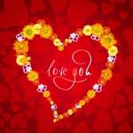 Miluju tě. karta pro valentinky den se srdcem z květů — Stock fotografie
