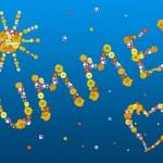 verano decorativas letras y símbolos de las flores de color — Foto de Stock