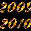 Decorative numbers of 2009 and 2010 years from color flowers — Stock Photo #3384166