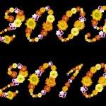 dekorativní čísla z let 2009 a 2010 od barevné květy — Stock fotografie