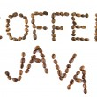 Coffee and java words from coffee — Stock Photo