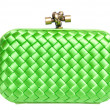 Green silk clutch isolated on white — Stock Photo