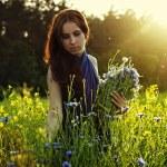 Girl gathering flowers on sunset — Stock Photo