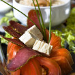 Cluse up slices of the tomatos and bacon — ストック写真