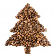 Fir-tree from coffee beans isolated on white — Stock Photo