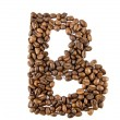 Coffee letter isolated on white - Stock Photo