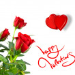 Red roses with hearts and greetings for valentines day — Stok fotoğraf